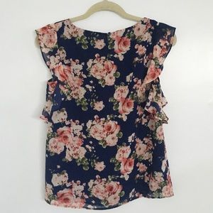 Forever 21 Tops - navy floral blouse